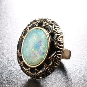 Opal Ring And Earring Jewelry Set Black Enamel